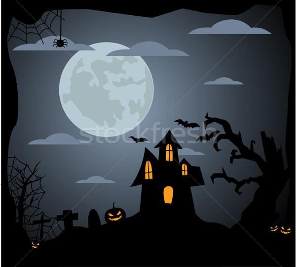 Halloween natuur achtergrond bomen kunst zwarte Stockfoto © nezezon