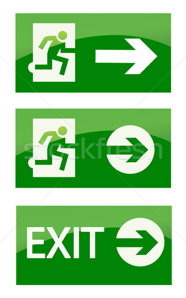 Green exit emergency sign Stock photo © nezezon
