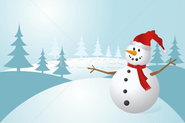 Kardan Adam Buz Kış Boyama şapka Noel Vektör