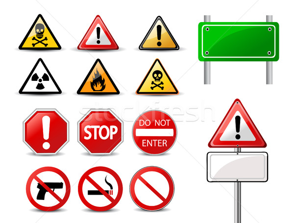 Road signs and Triangular Warning Hazard Signs Stock photo © nezezon
