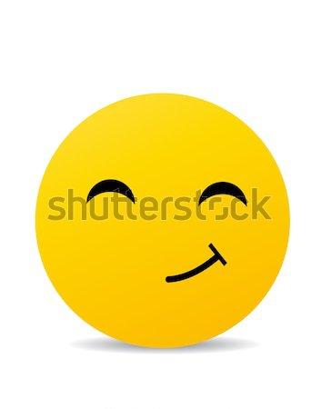 Emoticon branco feliz sol boca botão Foto stock © nezezon