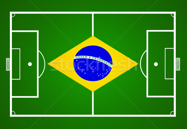 soccer field with Brasil flag Stock photo © nezezon