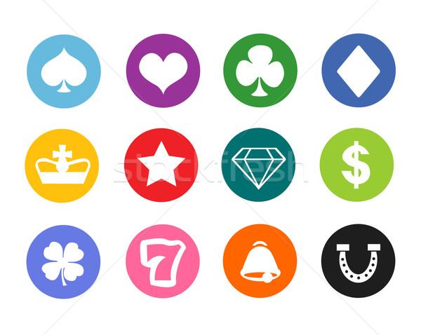 Gioco d'azzardo icone casino soldi poker Foto d'archivio © nezezon