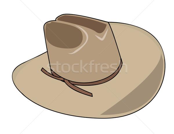 Ilustração chapéu de cowboy sol campo ovelha vaqueiro Foto stock © nezezon