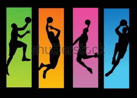 Kosárlabda játékosok illusztráció terv fitnessz sportok Stock fotó © nezezon