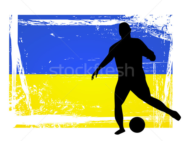 soccer player in front of the ukraine flag Stock photo © nezezon