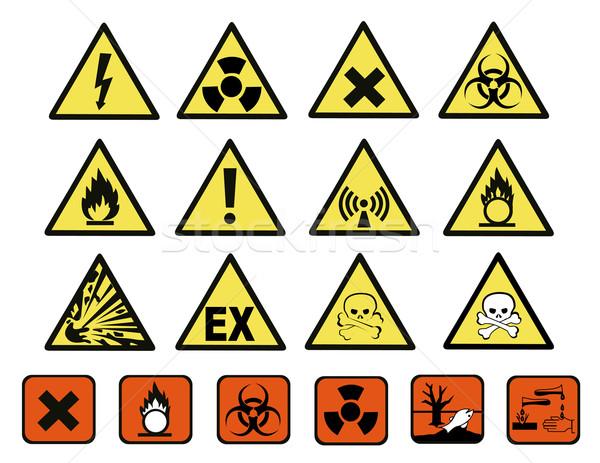 Chemical hazard signs vector illustration Stock photo © nezezon