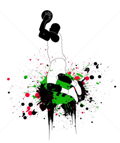 Kosárlabdázó fitnessz sportok ugrás energia sziluett Stock fotó © nezezon