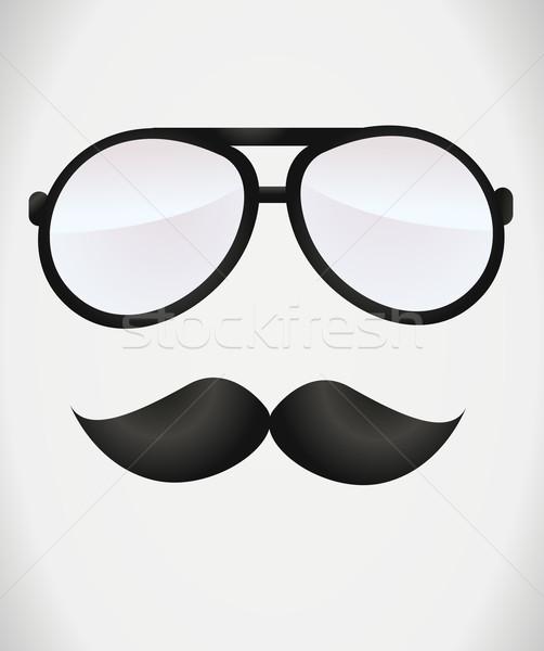 Inek öğrenci gözlük dizayn Retro fotoğraf bağbozumu Stok fotoğraf © nezezon