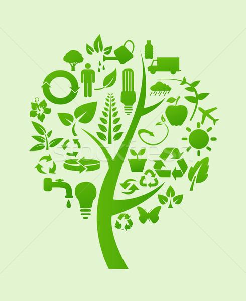 Albero Riciclare Simboli Business Natura Sfondo