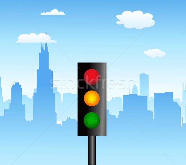 Trafik ışığı şehir yeşil seyahat kırmızı lamba Stok fotoğraf © nezezon