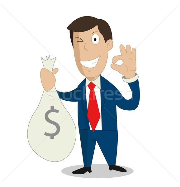 üzletember kezek tart pénz táska üzlet Stock fotó © nezezon