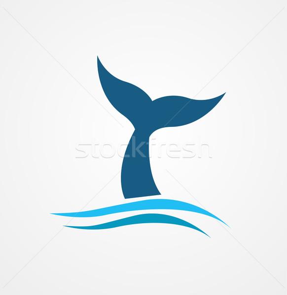 Baleia cauda ícone mar azul silhueta Foto stock © nezezon