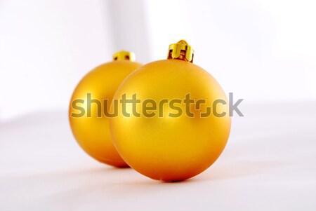 黄色 クリスマス ボール 背景 金 白 ストックフォト © nezezon