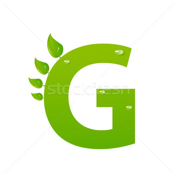 Green eco letter G vector illiustration Stock photo © nezezon