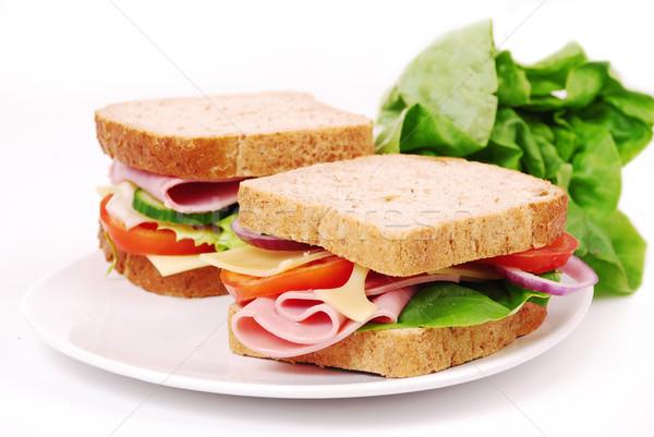 Sağlıklı jambon sandviç peynir domates beyaz Stok fotoğraf © nezezon