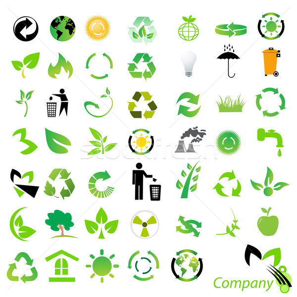 Vector ingesteld milieu recycling iconen logos Stockfoto © nezezon