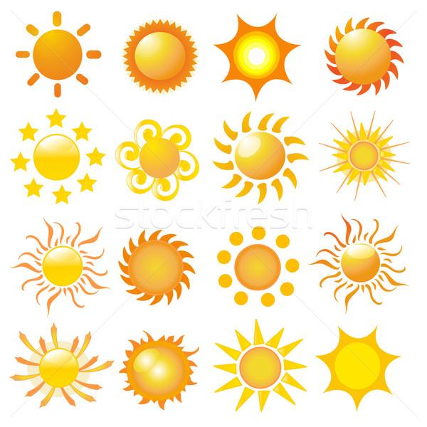 Zdjęcia stock: Zestaw · słońce · wektora · lata · przestrzeni · Świt