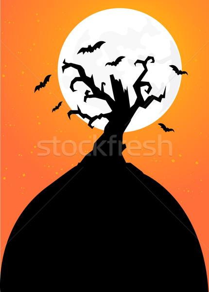 Halloween árvore teia outono silhueta dom Foto stock © nezezon