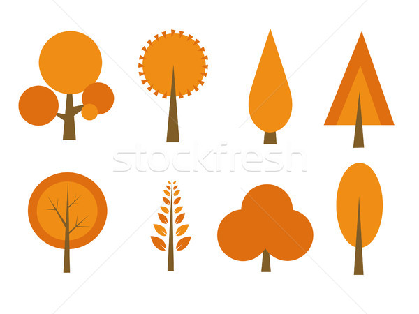 Autunno alberi set albero foresta abstract Foto d'archivio © nezezon
