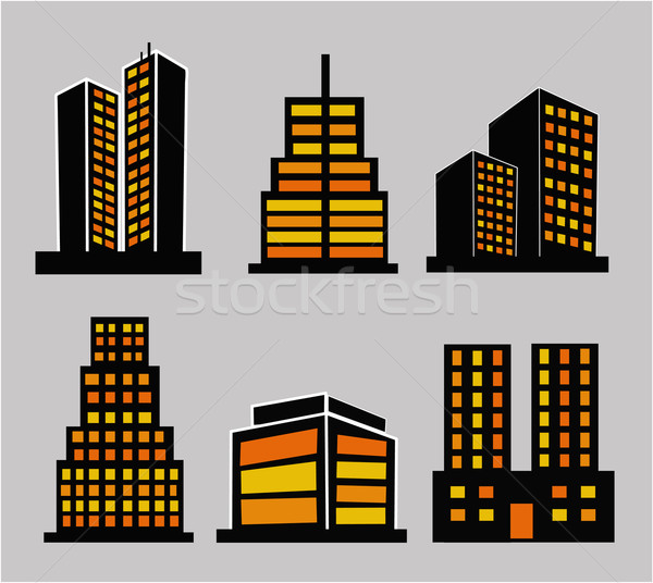 Commercial building icons Stock photo © nezezon