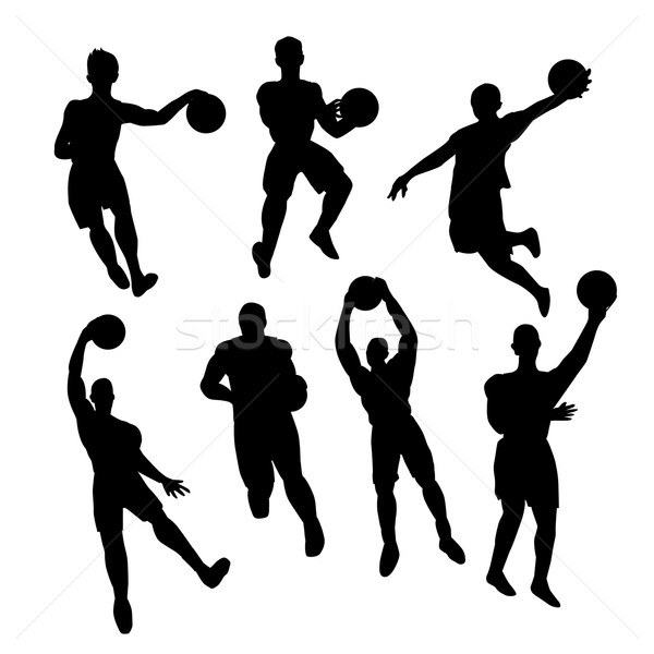 Set of basketball players silhouette Stock photo © nezezon