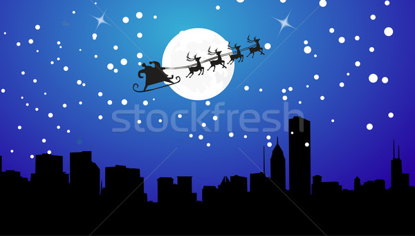 ストックフォト: シルエット · 実例 · 飛行 · サンタクロース · クリスマス · トナカイ