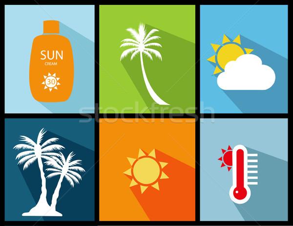 Сток-фото: лет · иконки · пляж · солнце · дизайна · жизни