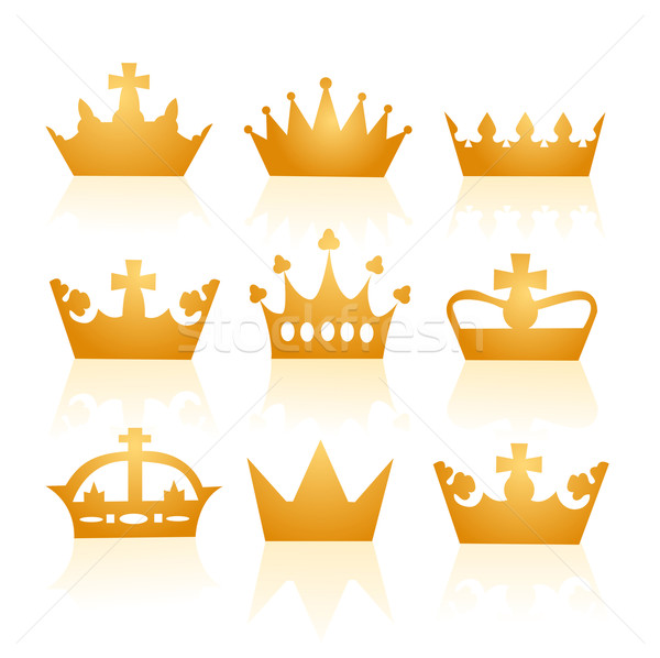 Vector illustration of different crowns Stock photo © nezezon