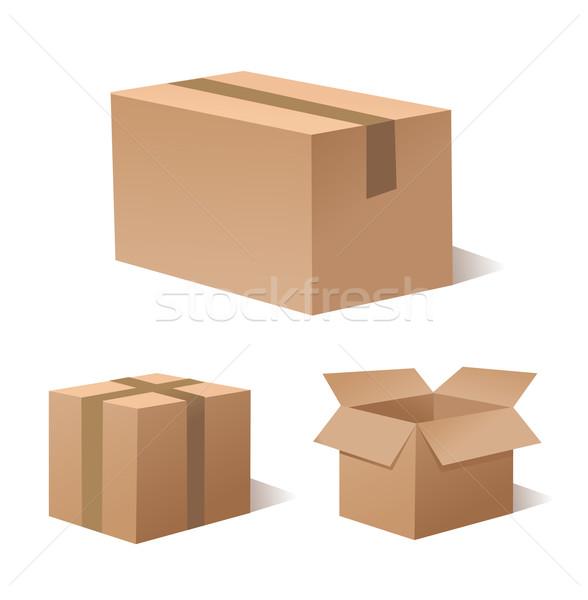 Collectie recycleren bruin vak verpakking kantoor Stockfoto © nezezon