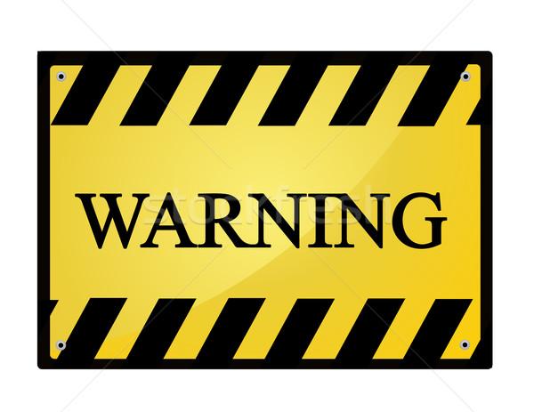Stock fotó: Figyelmeztető · jel · háttér · fém · felirat · fekete · tiszta
