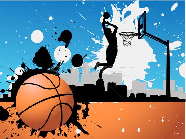 Kosárlabdázó fitnessz sportok energia sziluett tinta Stock fotó © nezezon