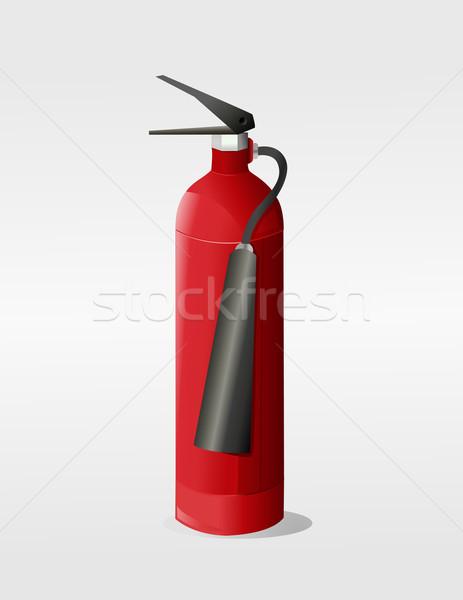 Tűzoltó készülék művészet felirat piros acél láng Stock fotó © nezezon