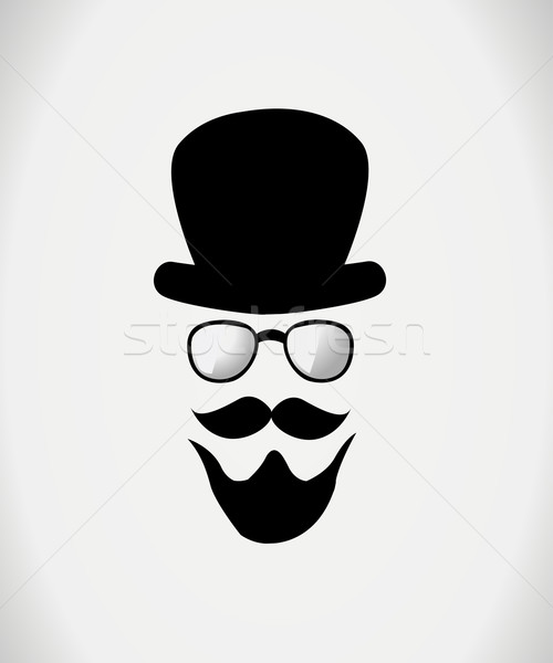 Hat, glasses and mustache. Vector illustration Stock photo © nezezon