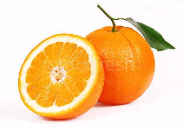 One oranges and half juicy half oranges Stock photo © nezezon