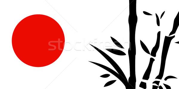 Geleneksel Japon Boyama Yaprak Saglik Yaz Vektor