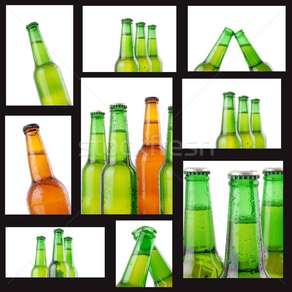Foto d'archivio: Birra · bottiglie · gocce · d'acqua · bianco · texture · abstract