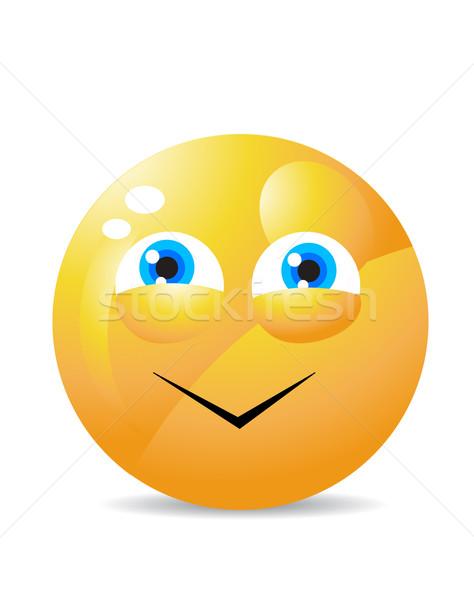 Stockfoto: Geel · glimlach · gelukkig · ontwerp · retro