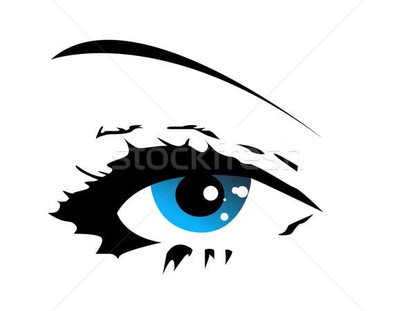 Blu vettore occhi design segno nero Foto d'archivio © nezezon