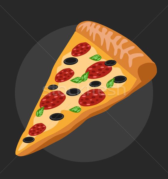 Salami pizza slice hot voedsel pizza ontwerp Stockfoto © nezezon