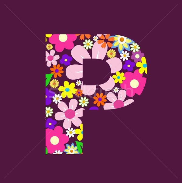 Lettera bella fiori fiore farfalla design Foto d'archivio © nezezon