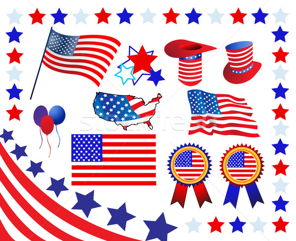 Elements and icons related to American patriotism Stock photo © nezezon