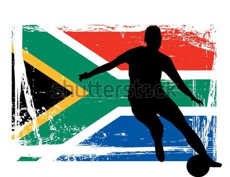 Piłkarz Brazylia banderą piłka nożna piłka sylwetka Zdjęcia stock © nezezon