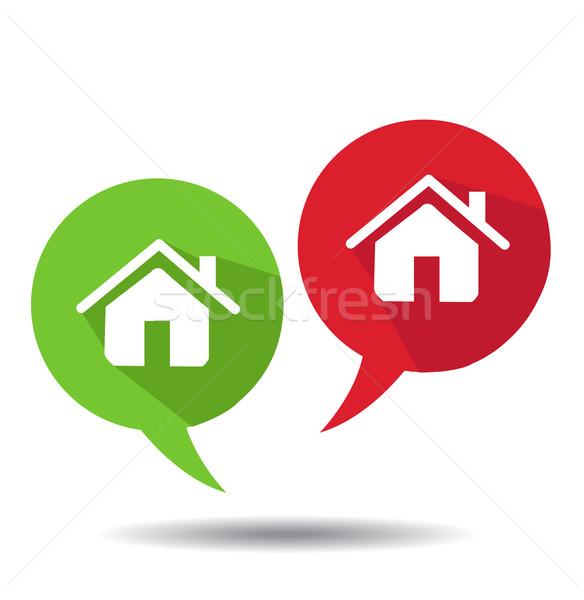 Szövegbuborékok otthon ikonok épület terv doboz Stock fotó © nezezon