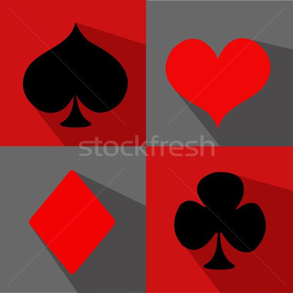 Vector flat card suit icon set Stock photo © nezezon