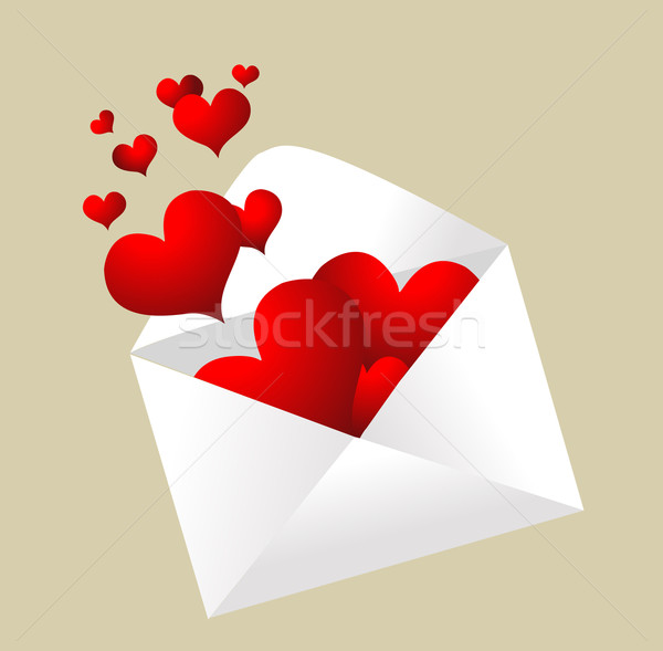 Envelope with hearts popping out  Stock photo © nezezon