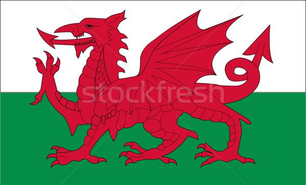 Zászló Wales absztrakt háttér felirat háló Stock fotó © nezezon