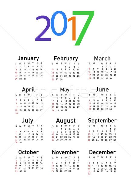 Calendar for 2017 Stock photo © nezezon