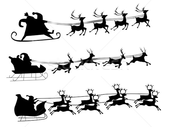 Silhouette Illustration of Flying Santa and Christmas Reindeer Stock photo © nezezon