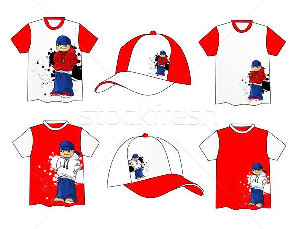 красивой вектора футболки хип-хоп дизайна красоту Сток-фото © nezezon